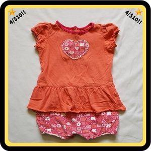🌟4/$10🌟 Orange & Pink Romper w/ Hearts, X's, O's